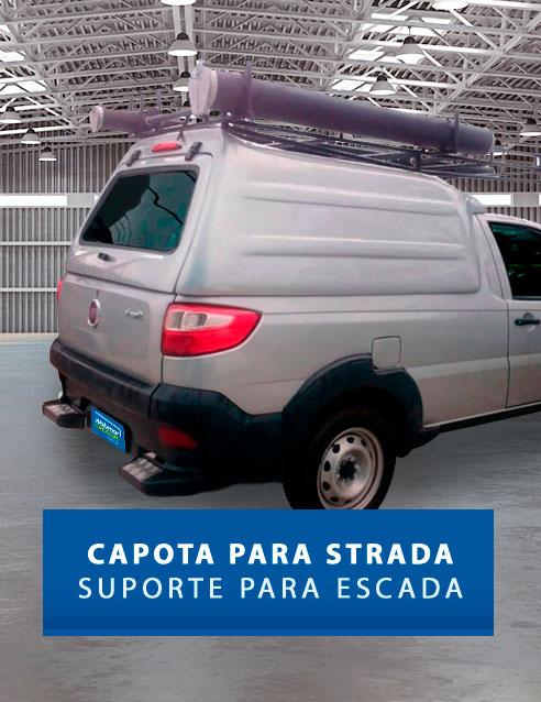 Laterais Fechadas com Suporte para Escadas - Capota de Fibra Fiat Strada